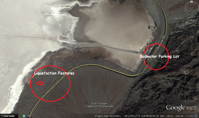 Liquefaction features by Badwater Springs.