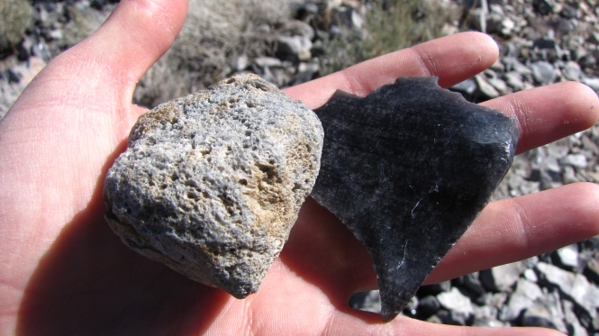 Obsidian and pumice stones.  Hard to believe such different rocks could come from the same source!