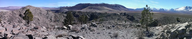 A view of nearby cinder cones from Panum crater near Mono Lake, CA.  Definitely consider climbing this crater to see some excellent volcanic rocks.